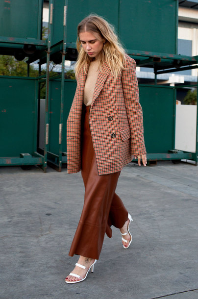 pants tumblr leather leather pants culottes brown pants sandals coat top nude top