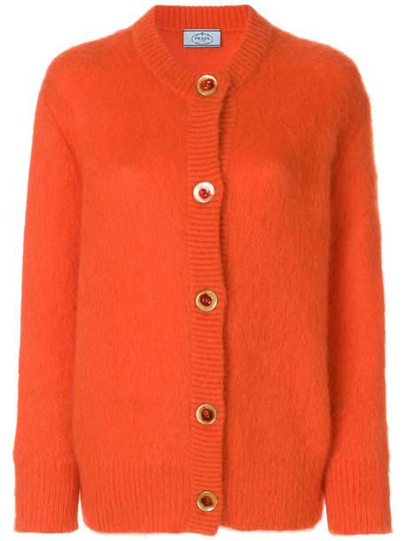 Prada cardigan cardigan women mohair wool yellow orange sweater