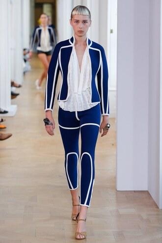 jacket courreges blouse pants paris fashion week 2016 runway model