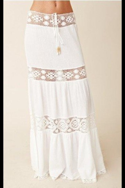 skirt white skirt see threw boho skirt boho