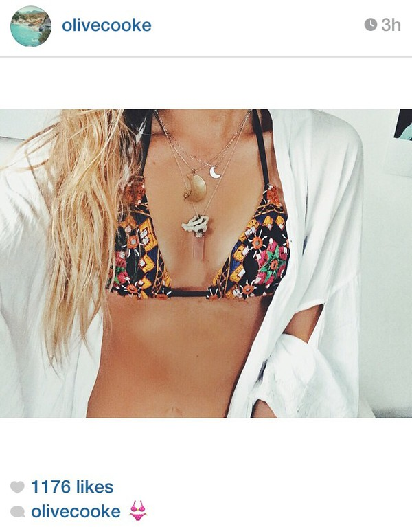 swimwear bikini embroidered bikini colourful bikini colorful bikini bikini top necklace necklace moon necklace crystal quartz white kimono white cardigan olive cooke white cardigan patterned swimwear