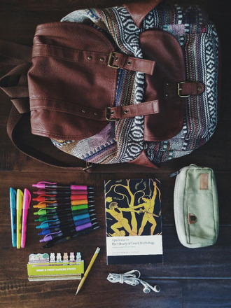 bag hipster tumblr cute aztec bag leather bag backpack