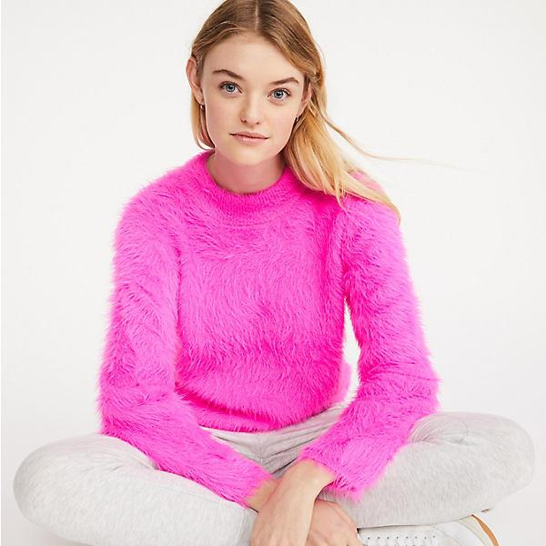 Fuzzed Mock Neck Sweater
