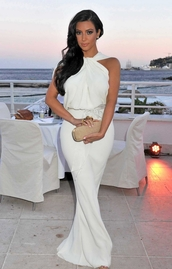 dress,white,halter neck,prom dress,white dress,formal,white wedding dress long sexy cross top,white maxi dress,maxi,maxi dress,wedding,wedding guest,wedding guest dress,gorgeous,kim kardashian dress,jumpsuit,mermaid,sophisticated