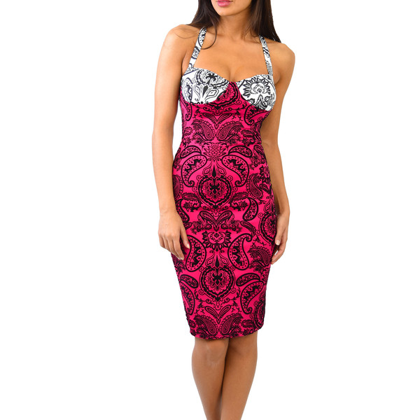 Paisley Crossback Bodycon Dress | Emprada