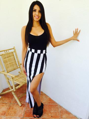 black/white slit maxi skirt   Belle La Vie