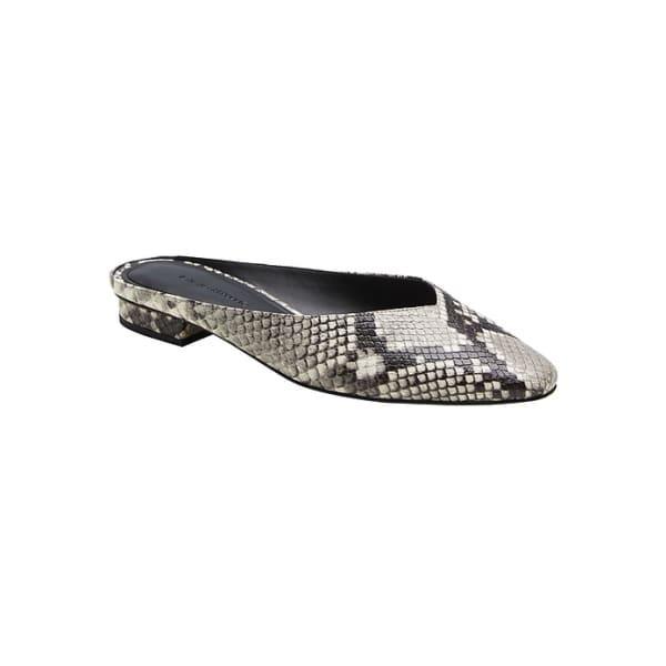 Banana Republic Women's Mule Slide Gray Snakeprint Leather Regular Size 7 1/2