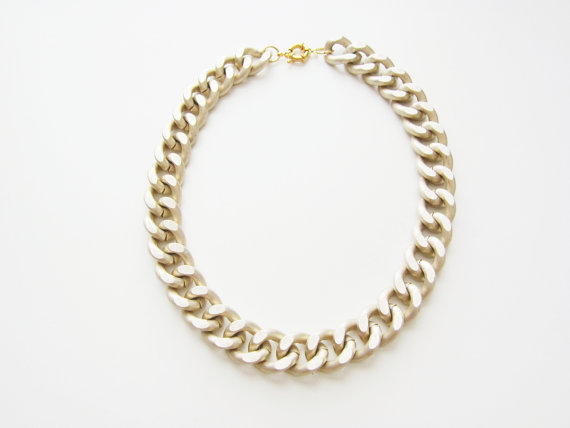 Matte Chunky Gold Chain Necklace by YuniKelley on Etsy