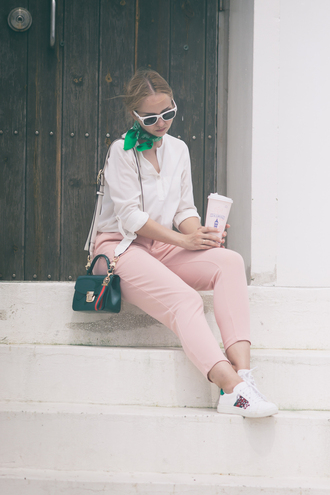 my blonde gal blogger pants bag sunglasses shoes blouse pink pants sneakers summer outfits