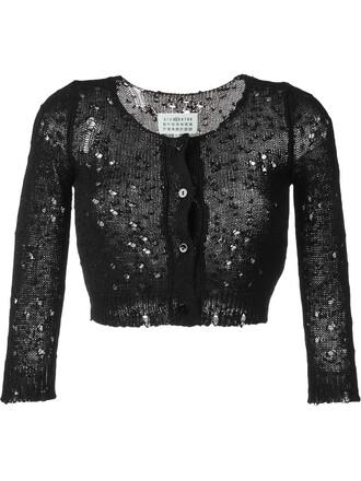 cardigan cropped black sweater