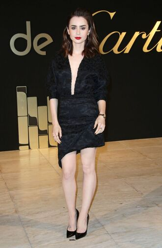 dress lily collins black dress asymmetrical asymmetrical dress plunge dress wrap dress