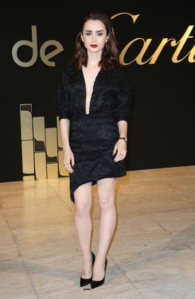 af400c16ee4430 Dress Lily Collins Black Asymmetrical. Lily Collins Black Two Piece Dress  The Mortal Instruments Berlin Premiere