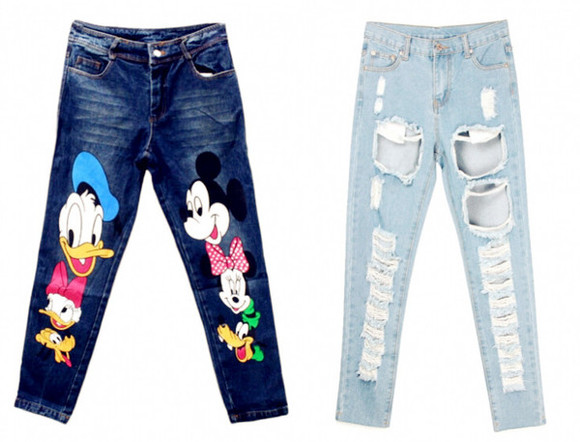 winter outfits top blackfive fashion clothes outfit fall outfits t-shirt jeans ripped jeans ripped denim cartoon print micky mouse shirt donald duck minnie mouse minnie and mickey pants bottoms destroyed jeans
