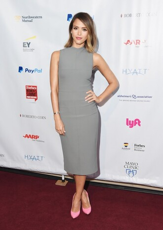 dress midi dress grey bodycon pumps jessica alba shoes