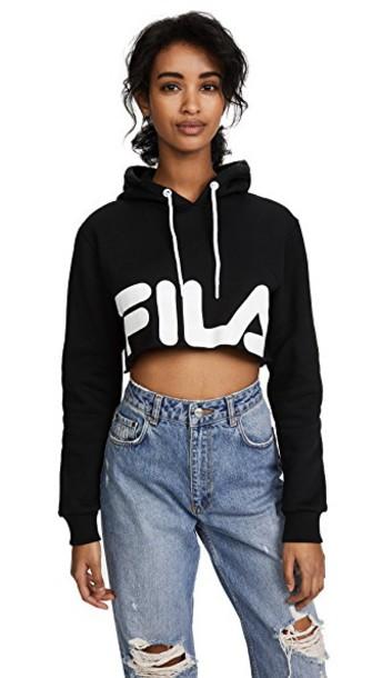 fila hoodie white black sweater