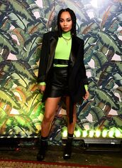 shorts,leather,leather shorts,leigh-anne pinnock,celebrity,blazer,fall outfits