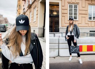 kenza blogger sweater jeans jacket bag streetstyle asos adidas acne studios balenciaga