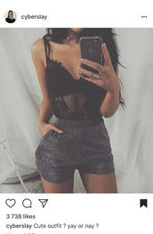 top,lace,black,cute,shorts,glitter,festival