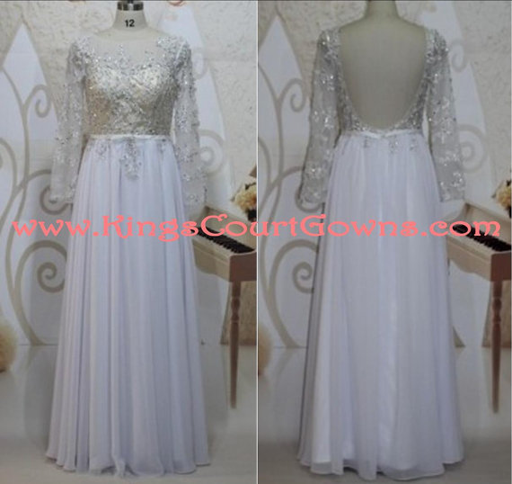 Replica sheer beaded backless long sleeve chiffon prom evening wedding pageant dress gown