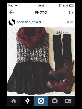 sweater jumper scarf style fashion socks shoes boots skirt