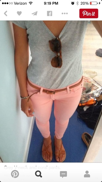 jeans capris bottoms coral pants pants jeggings pink pants stretchy