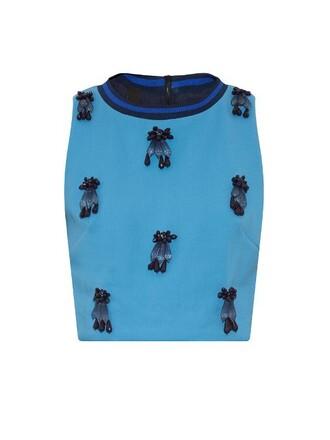 top cropped embellished navy blue