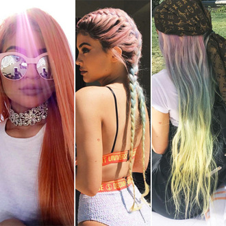 hair accessory kylie jenner rainbow cochela ombre hair rainbow ombre french braids kim k braids tumblr summer sunglasses keeping up with the kardashians celebrity style celebstyle for less sunnies glasses accessories