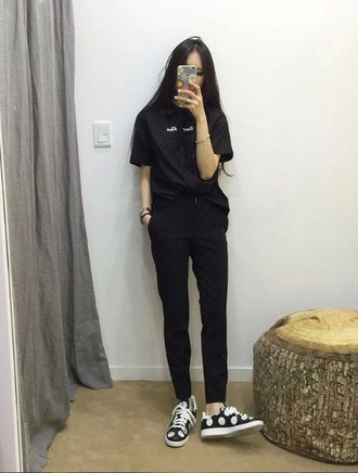 pants black black pants tumblr girl tumblr chic grunge soft grunge urban aesthetic aesthetic tumblr fashion girl large pants