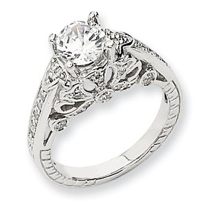 Amazon.com: ann harrington jewelry 14k white gold 3/8 ct tw diamond filigree engagement ring, 6.5 mm (for 1 ct) semi setting: jewelry