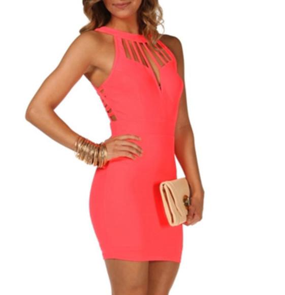 coral dress homecoming dress coral pink tight dress