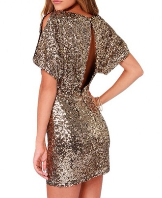 dress gold sequins style fashion girly prom dress outfit christmas short dress gold christmas dress