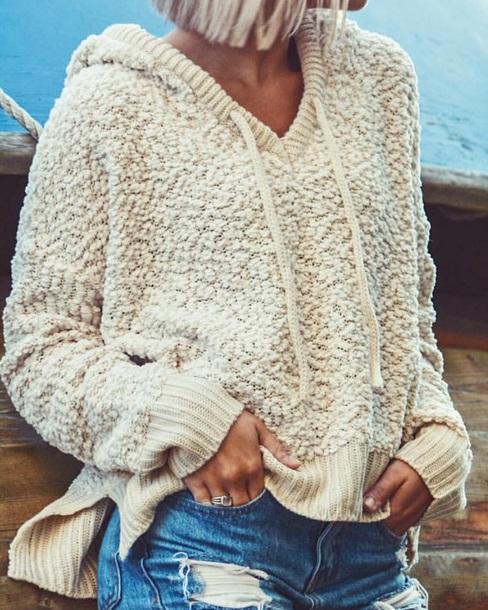 sweater cropped hoodie fuzzy sweater cream beige sweater beige