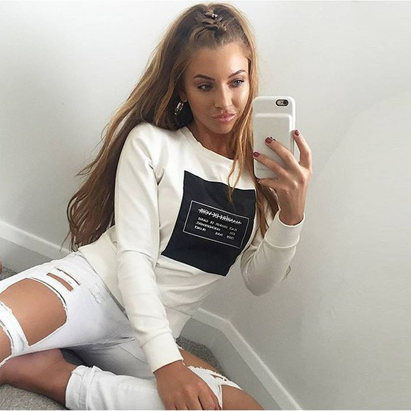 sweater leather panel jumper white casual fashion style trendy