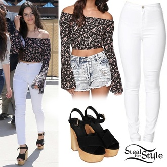 camila cabello fifth harmony shoes jeans floral top off the shoulder top high heel sandals high heels dress camila cabello outfit
