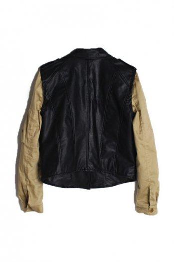 Khaki sleeves montage short black jacket [ncsoq0005]
