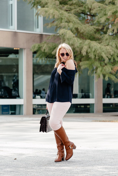 glitter&spice blogger top pants shoes bag satchel bag fall outfits white pants boots brown boots