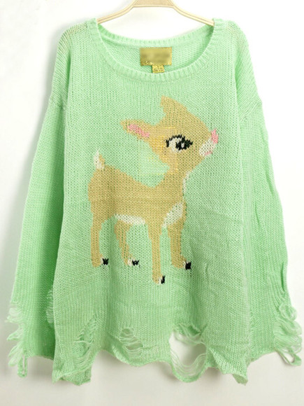 deer print green cute round neck long sleeves top pattern mint ripped loose knitwear casual pullovers