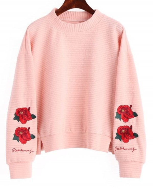 sweater girly swweater sweatshirt pink embroidered rose roses