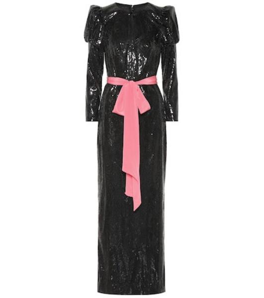 Monique Lhuillier Sequined column gown in black