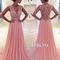 A-line v neck pink chiffon lace long prom dress - 24prom
