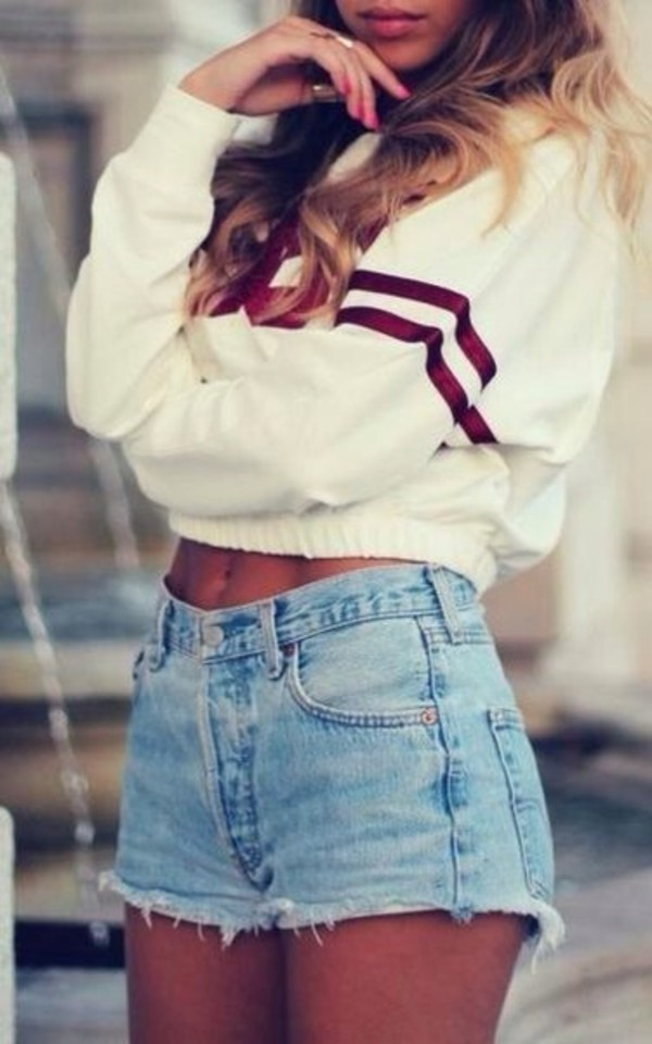 white sweater cropped sweater denim shorts stripes
