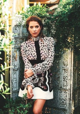 dress editorial ashley benson animal print leopard print