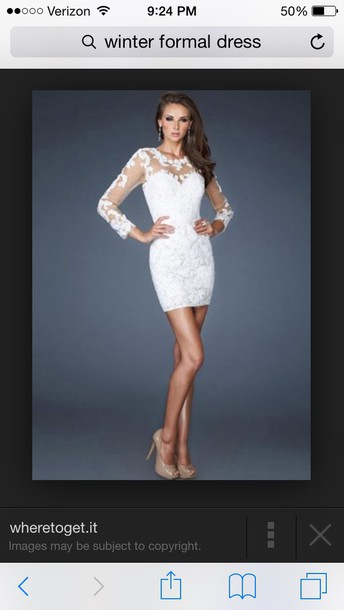 dress white dress lace dress short dress bodycon dress winter formal dress