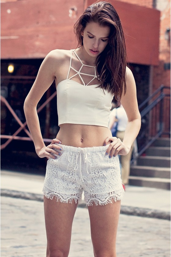 White Crochet Shorts