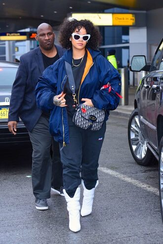 jacket bomber jacket streetstyle boots rihanna fall outfits celebrity