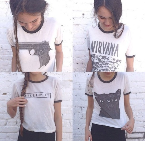 t-shirt nirvana girly killin it cats shirt nails grunge 90s style