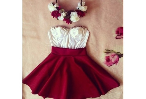 red skirt jewels dress clothes white crop top cocktail dresses