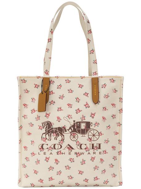 coach women floral nude cotton print bag