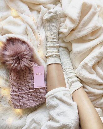 hat yeah bunny pink pom poms winter outfits