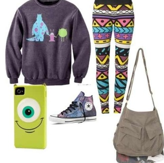 pants aztec converse galaxy print backpack cute boho hipster monsters inc mike wazowski iphone cover bag jewels sweater